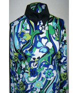 Cobalt Blue White and Green Floral Swirl Lycra Stretch Ity Fabric 1 Yd 1... - $36.00