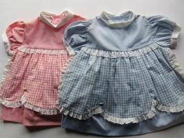 vintage baby dresses pink & blue gingham 60's age 1 Easter pastel colours - $21.07