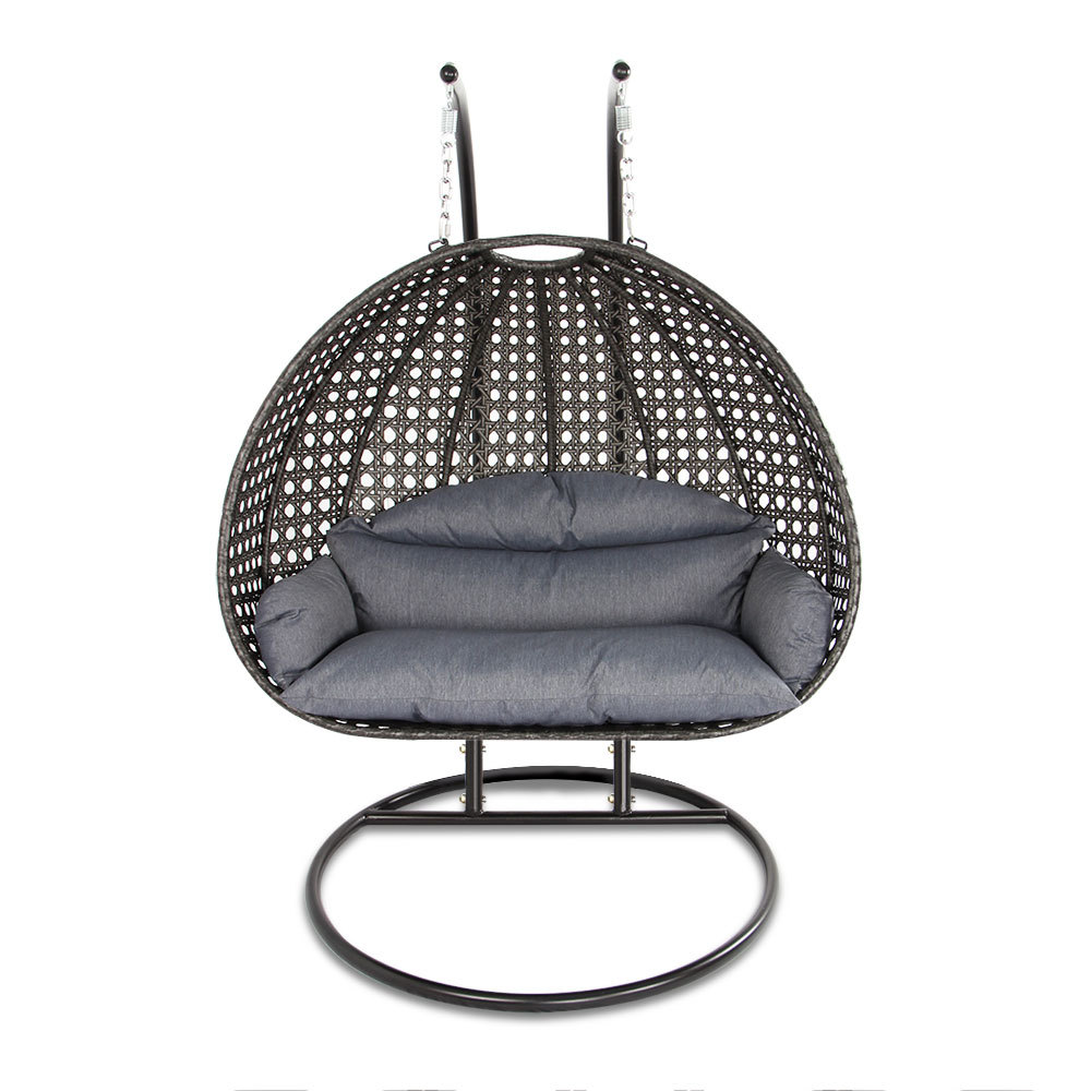 2 Person Outdoor Patio Rattan Hanging Wicker Swing Chair ...