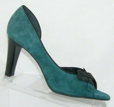 Franco Sarto green suede bow ribbon peep toe slip on half d'orsay heels 8M - $36.01
