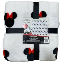 Disney Minnie Mouse Soft Plush TWIN Blanket Throw 60x90 Bow Ears Red Wor... - $43.64
