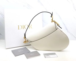 BRAND NEW Authentic Christian Dior White Saddle Trotter Leather Shoulder Bag  image 4