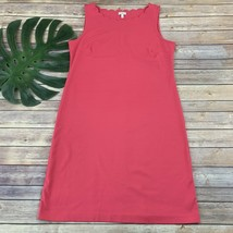 Talbots Scallop Trim Shift Dress Size M Bright Pink Sleeveless Knee Length - $29.69