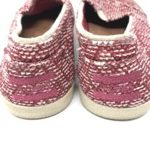 Toms Womens Size 5 Slip On Casual Sneakers Red White Fabric Woven Flats image 5