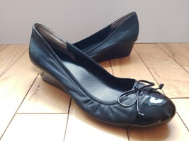 Cole Haan Air Black Leather Slip on Wedge Patent Cap Toe Bow TieShoes Si... - $38.69