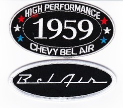 1959 Chevy Bel Air Hp SEW/IRON On Patch Badge Emblem Embroidered Hot Rod Car - $10.99