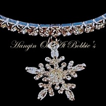Snowflake Charm Anklet Clear Crystal Stretch 9 Inch Silver Tone Metal Style 541 - $21.99