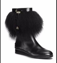 MICHAEL KORS Lizzie Fur-Trimmed Mid Black Leather Boots $395 Multiple Sizes - $119.99