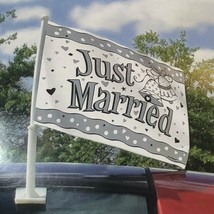 """NEW Wedding Party Just Married Car Flag / banner pole on window 14"""" x 18"""" - $11.76"""