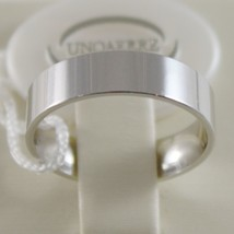 18K WHITE GOLD WEDDING BAND UNOAERRE SQUARE RING MARRIAGE 5 MM, MADE IN ITALY image 1