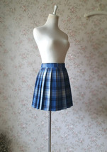 Navy Plaid Skirt Outfit Women Girl Pleated Plaid Skirt Navy Plaid Mini Skirts image 5