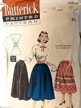 Vintage 1950s Sewing Pattern Butterick #5803  Dirndl Skirt Waist 30, Hip 39 - $20.07