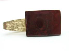 Tie Clasp Reddish Brown Polished Genuine Stone Men's Vintage In Goldtone, Clip - $14.99