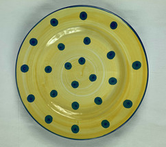 Made in Italy Luncheon Salad Plate Blue Polka Dots on Yellow Handpainted - $14.84