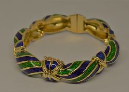 Vintage Tiffany & Co Blue Green Enamel & 18K yellow Gold Hinged Curved Bangle image 4