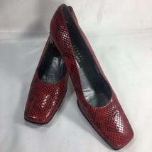 Women's Stuart Weitzman Red Snake Print Leather Pumps High Heels Shoes Size 9 AA - $39.97