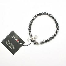 SILVER 925 BRACELET WITH ONYX AND HEMATITE BLE-1 MADE IN ITALY BY MASCHIA - $63.75