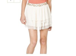 Miss Me Skirt Small Ivory Beaded Sea Shells Crystals Tiered Ruffle Sheer... - $13.99