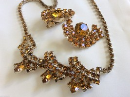 "Vtg Retro Citrine Color Crystal Rhinestone Necklace & Clip Earrings Set 17.5"" - $51.48"