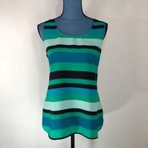 Loft Women's Striped Sleeveless Loose Fit Tank Blouse Green Blue Size M - $18.29