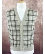 Bobby Jones Players Collection Golf Black Tan Plaid Button Sweater Vest ... - $17.81