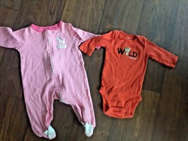 LOT of 2 Baby Girls Sz 3 mo One-Piece Outfits ~ Orange _ - $5.45