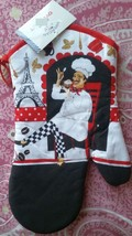 "Fat Chef Printed 13"" Large Oven Mitt, FRENCH CHEF, PARIS EIFEL, w/red ba... - $7.91"
