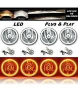 "5-3/4"" Amber COB LED Halo Angel Eye Crystal Clear Headlamp 6k LED Bulb S... - $279.95"