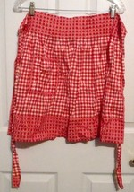 Vintage Red White Gingham Half Apron Ruched Style Pleated Top Cross Stit... - $9.00
