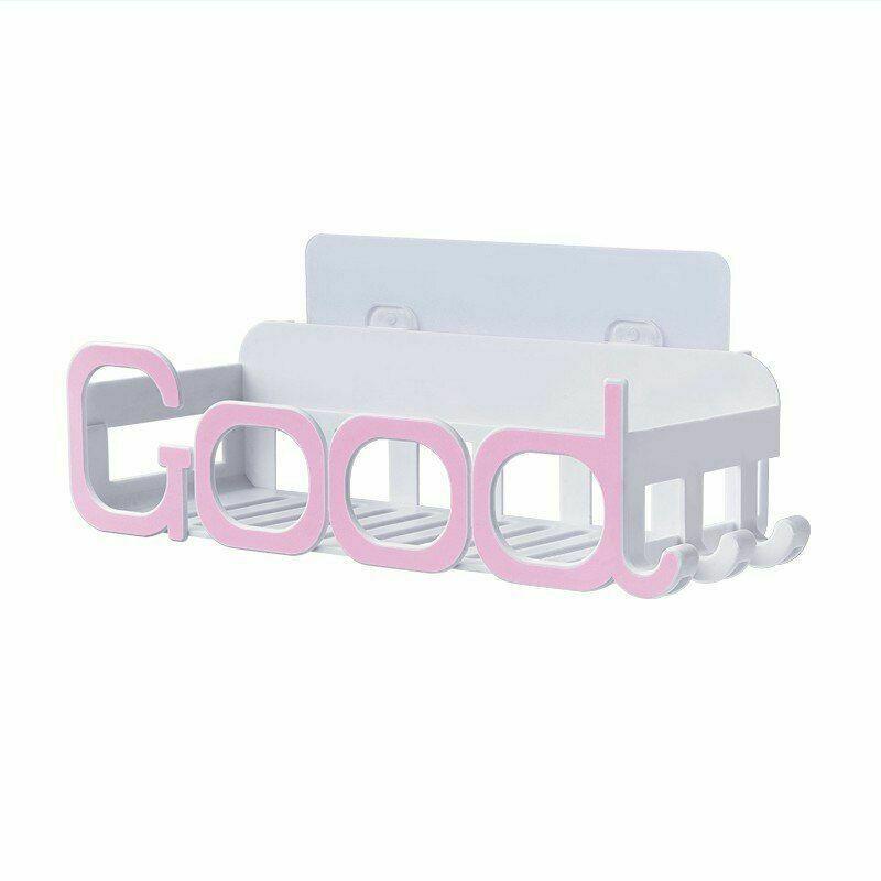 Corner Storage Wall Mounted Plastic Suction Bathroom Shelf Storage Basket Holder image 4