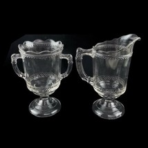 Antique Victorian EAPG Large Open Sugar Creamer Set Clear Glass Helmet S... - $32.41