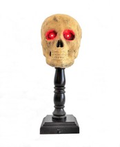 Human Skull w/Glowing Red Eyes on Wooden Pedestal - Halloween Lamp! - $840,02 MXN