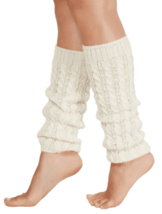 Hue 1 pair Women's Ivory Cable Knit Knee Length Leg Warmers One Size U20... - $4.25