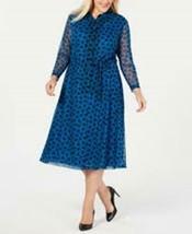 Anne Klein Dress Blue Printed Shirt Long Sleeves Sz 22X Plus NEW NWT 220 - $44.70