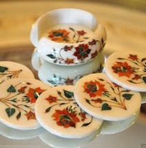 Marble Coffee Tea Coaster Set Hakik Stone Mosaic Inlay Patio Tables Decor Gifts - $264.06