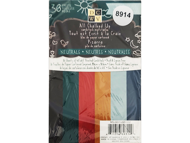 DCWV All Chalked Up Neutrals Cardstock, 36 Sheets #MS-003-00102