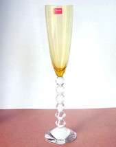 Baccarat Vega Flutissimo Flute Amber French Crystal Sculpted Stem 2101570 New - $218.90