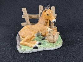 Vintage Homco Horse and Squirrel Ceramic Bisque Figurine