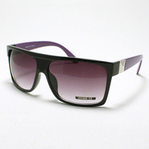 Retro Fashion SQUARED FLAT TOP MOB Style Sunglasses BLACK w/ PURPLE - $6.88