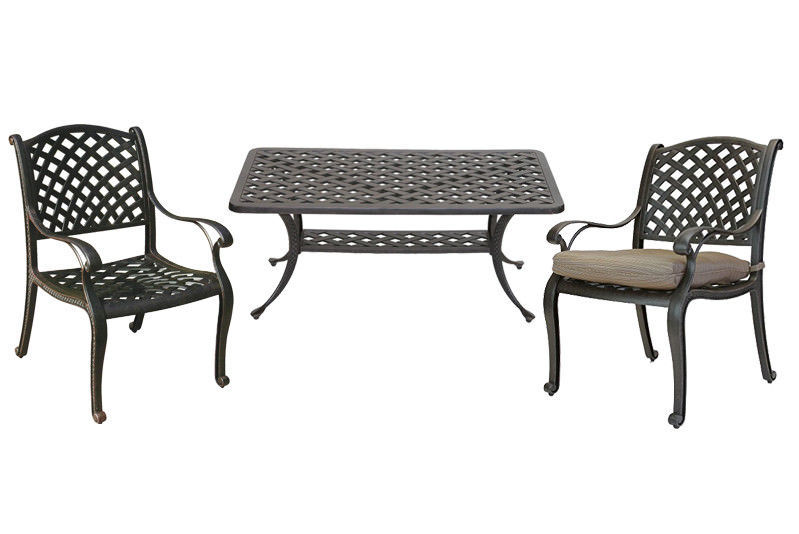 Primary image for 3 piece patio bistro set Nassau outdoor coffee table and chairs Desert Bronze