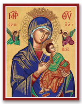 "Our Lady of Perpetual Help icon 4.5"" x 6"" Wooden Plaque With Lumina Gold - $36.95"