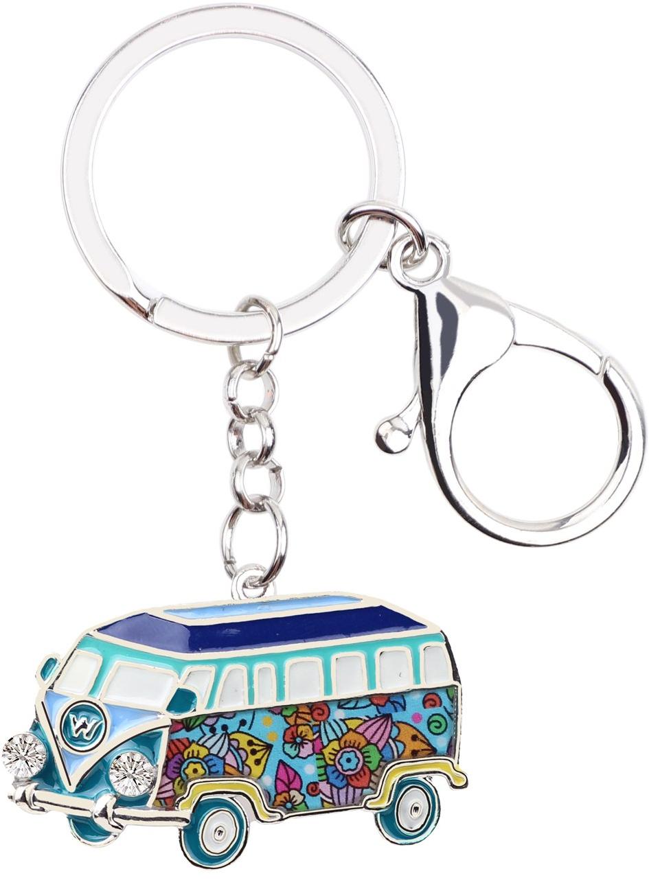 WEVENI Enamel Metal Bus Autobus Key Chain Keychain Ring Novelty Transportation J