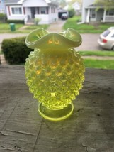 Fenton Art Glass Vaseline Opalescent Hobnail Hat Pin Holder - $27.72