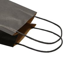 Road 5.25 x 3.25 x 8 Inches 100pcs Black Kraft Paper Bags with Handle, Shopping  image 8