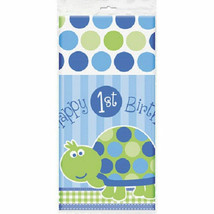 "1st Birthday Blue Turtle Table Cover Tablecloth 54"" x 84"" - $5.49"