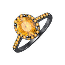 3.2CT Oval Cut Citrine 14K Black Gold Over .925 Silver Halo Engagement Ring - $57.79