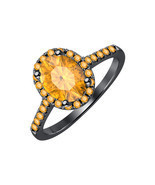 3.2CT Oval Cut Citrine 14K Black Gold Over .925 Silver Halo Engagement Ring - $67.99