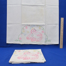 Vintage Pillowcases w/ Embroidered Girl Pink Dress Umbrella Floral Flowe... - $20.78