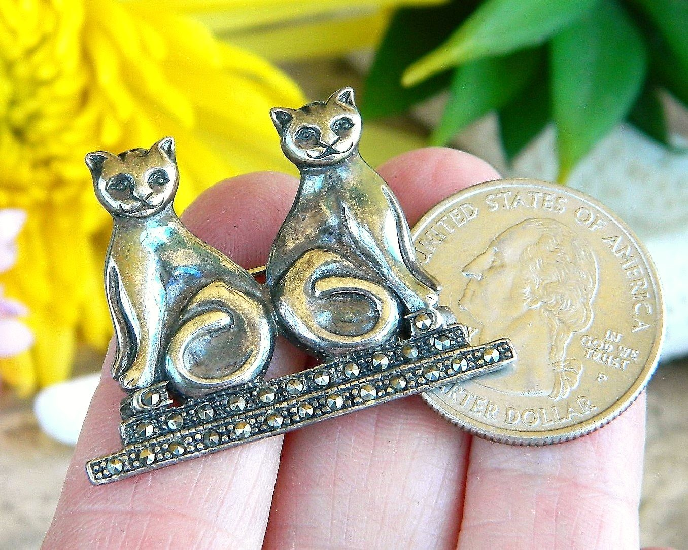 Vintage Two Cats Brooch Pin Sterling Silver Marcasite Signed Boma 925