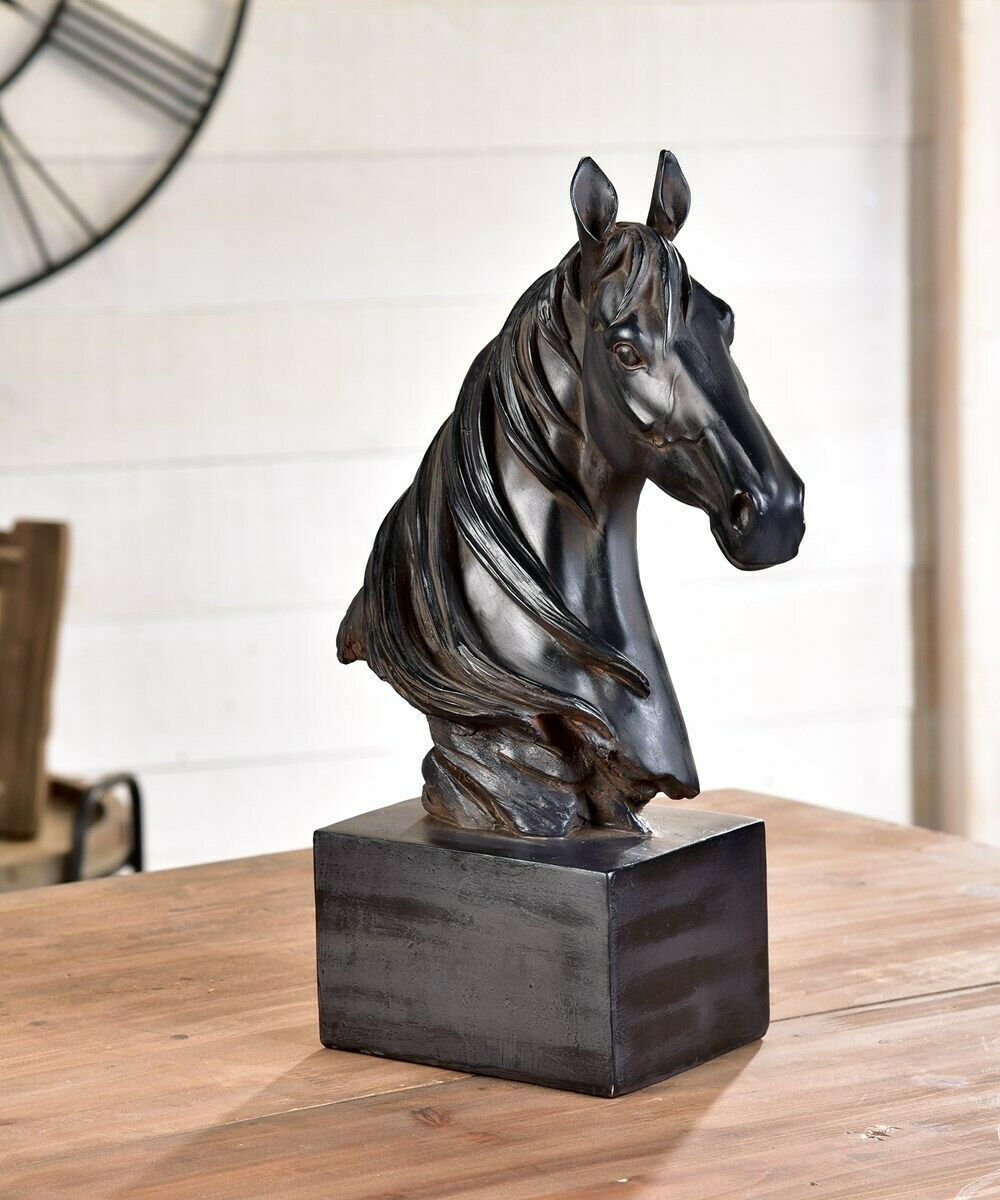 "15"" Horse Head on Pedestal Table Decor Brown Color on Black Base"